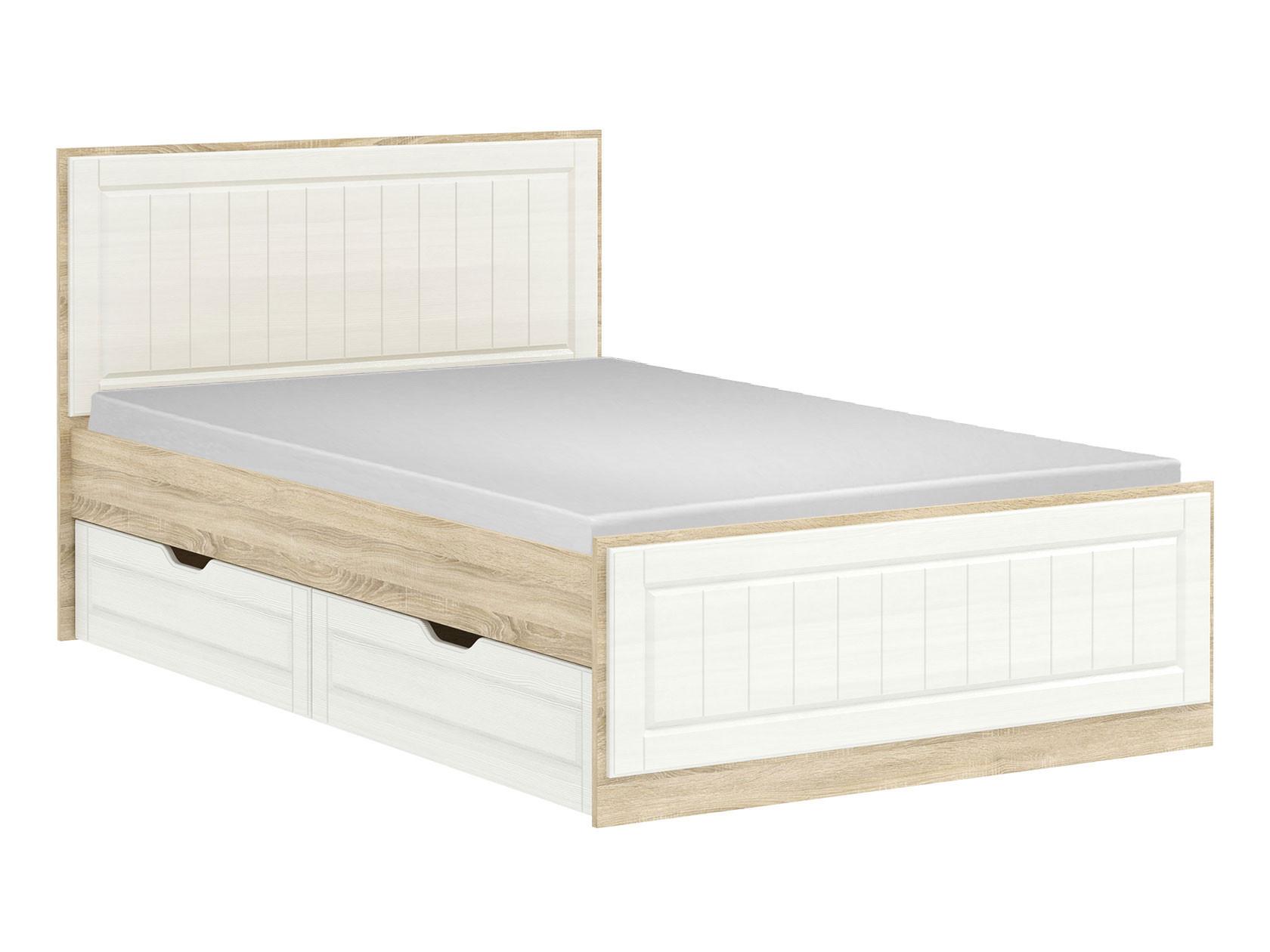 Односпальная кровать  Кровать Оливия Лайт НМ 040.34-02 Дуб сонома / Белое дерево, С ящиками