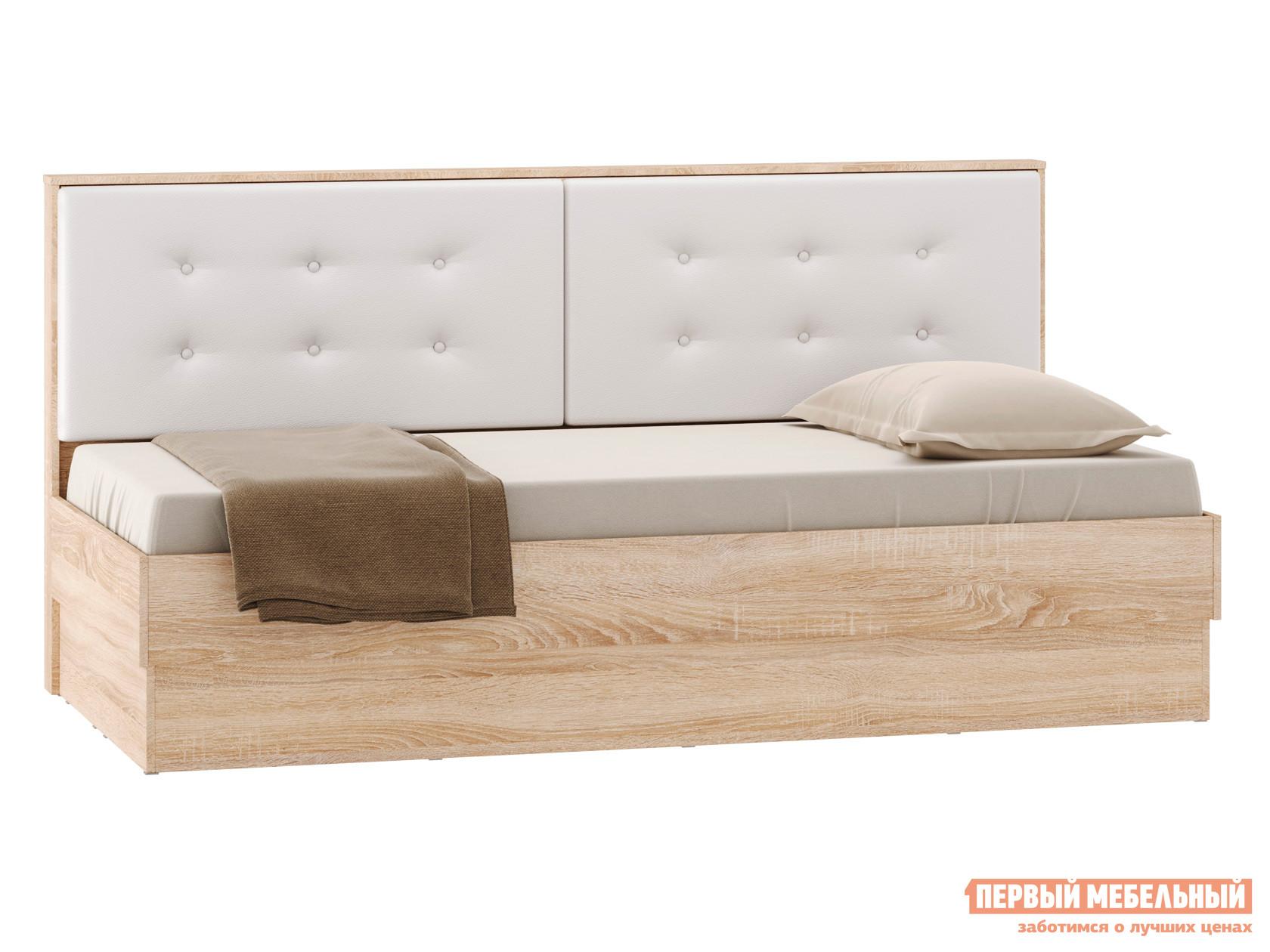 Односпальная кровать  Кровать Оксфорд Лайт 90х200 Дуб сонома / Белый, кожзам