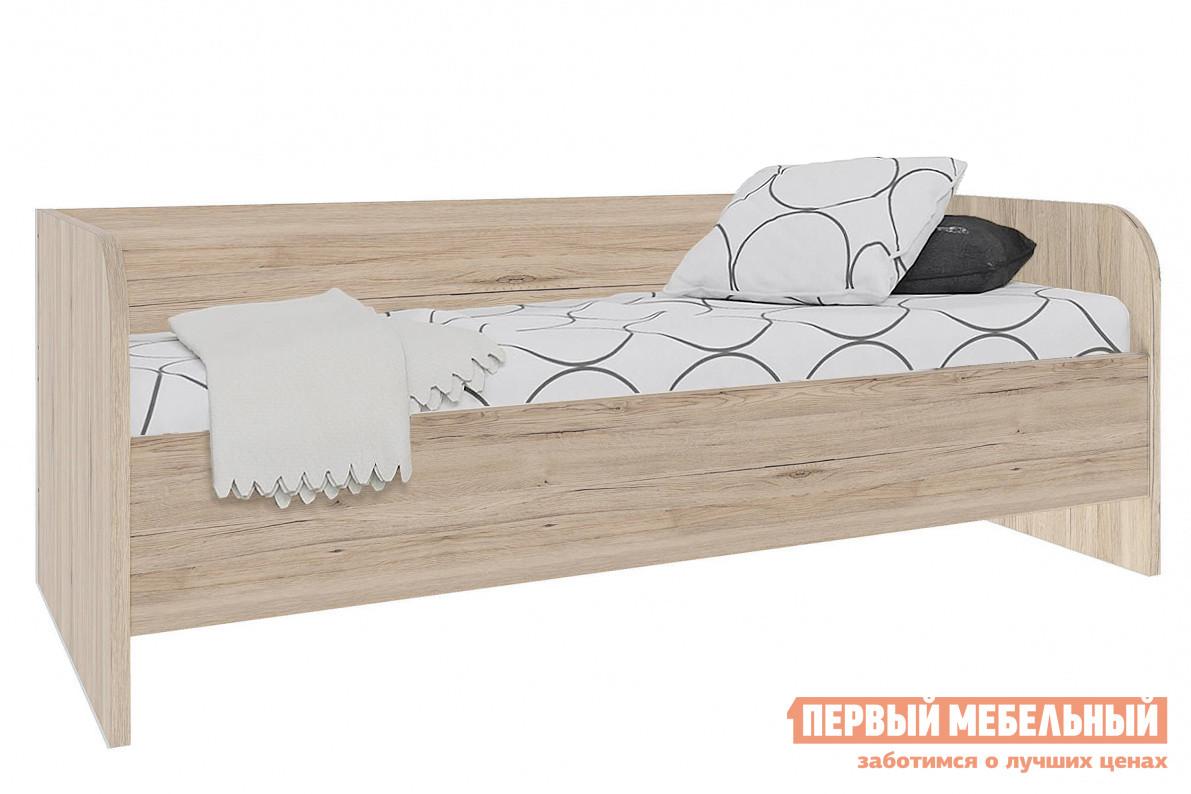 Односпальная кровать  Кровать молодежная Оксфорд Дуб Санремо / Белый, Без вставки