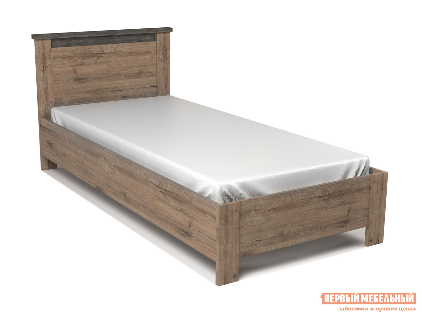 Односпальная кровать  Кровать Денвер 90х200 Дуб веллингтон / Камень темный, С основанием — Кровать Денвер 90х200 Дуб веллингтон / Камень темный, С основанием