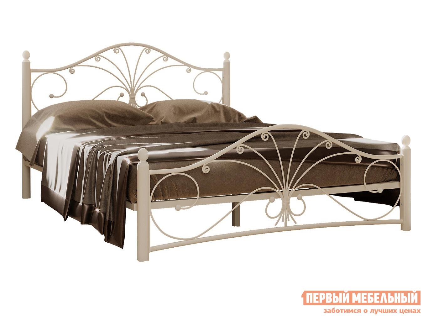 Односпальная кровать  Сандра Белый металл, 120х200