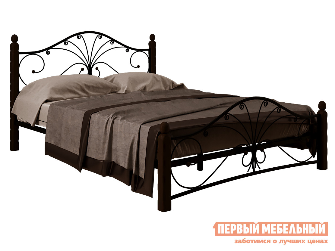Односпальная кровать  Сандра Черный металл / Шоколад массив, 120х200