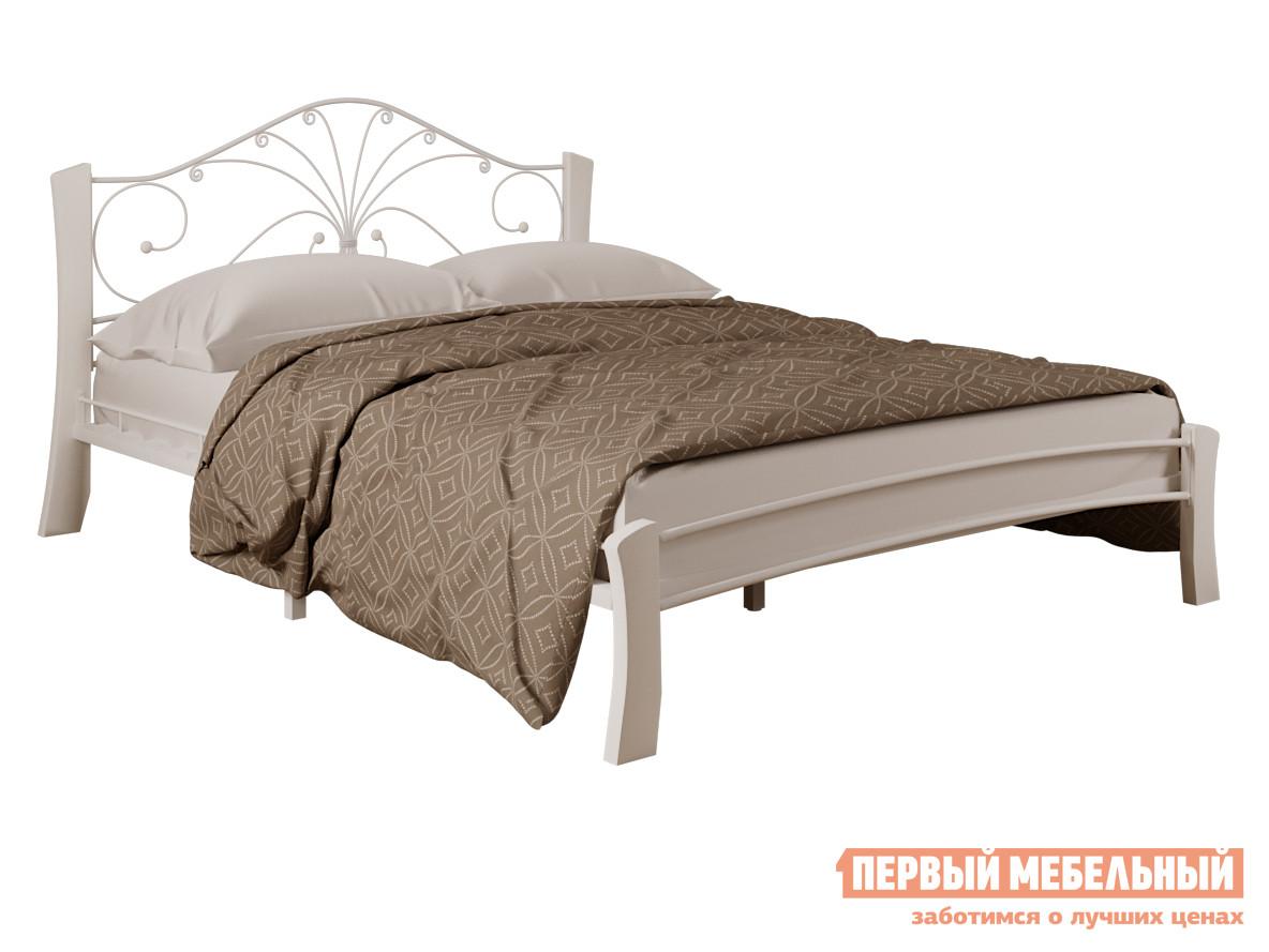 Односпальная кровать  Сандра лайт Кремовый металл / Белый массив, 1200 Х 2000 мм