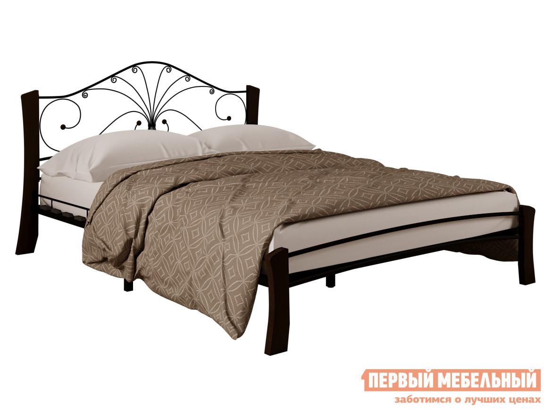 Односпальная кровать  Сандра лайт Черный металл / Шоколад массив, 1200 Х 2000 мм