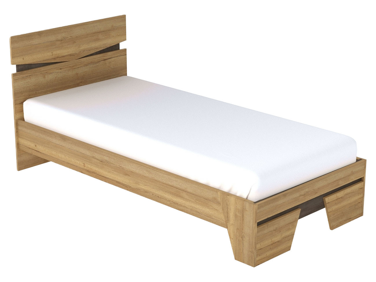 Односпальная кровать  Кровать Стреза NEW 90*200 Дуб Галифакс / Бетон Чикаго, С основанием