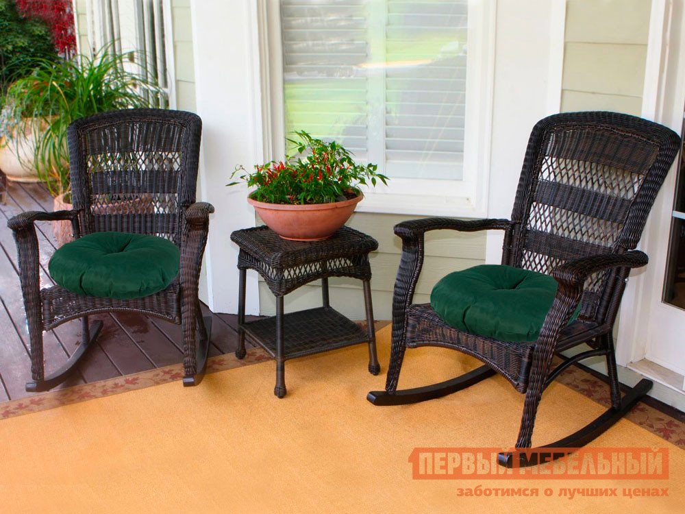 Декоративная подушка  Подушка-сидушка Темп круглая с завязками с имитацией пуговиц 4588, зеленый