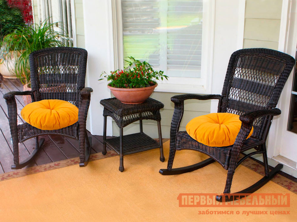 Декоративная подушка  Подушка-сидушка Темп круглая с завязками с имитацией пуговиц 4588, желтый