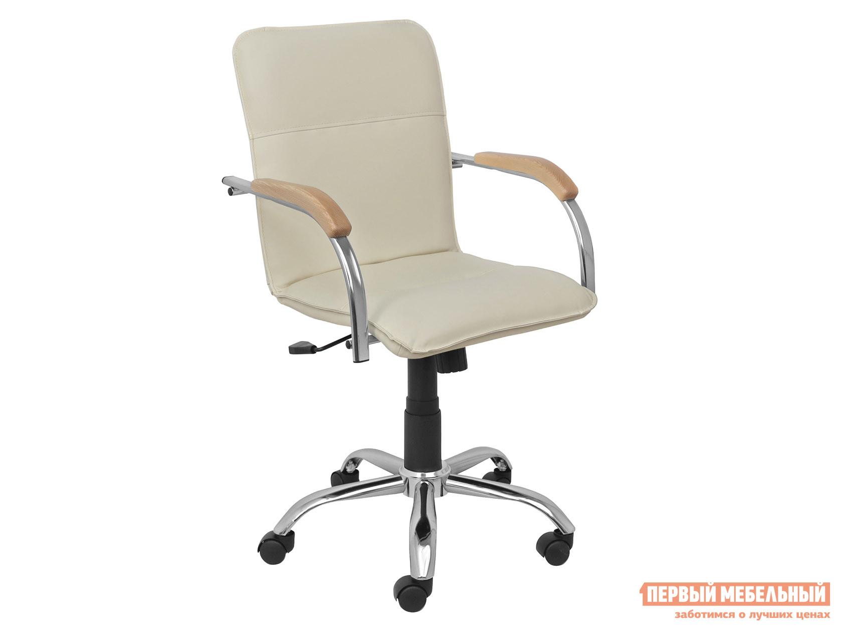 Офисное кресло  SAMBA AKS-2 Кремовый, экокожа, Деревянные Базистрейд 137640