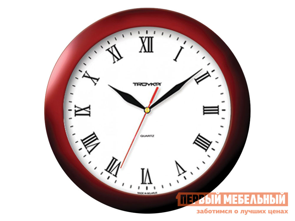 Часы  наст.Тройка 11131115 Бордовый, пластик ГК ЧАСПРОМ ООО 136360