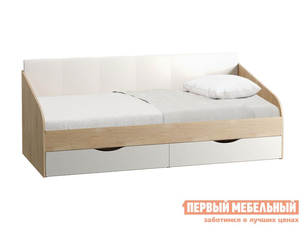 Тахта  Линда Дуб Сонома / Белый (текстура дерева) Белый, экокожа Моби 106986
