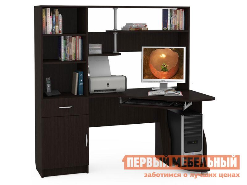Угловой компьютерный стол с надстройкой и стеллажом Первый Мебельный Комфорт 8 СК