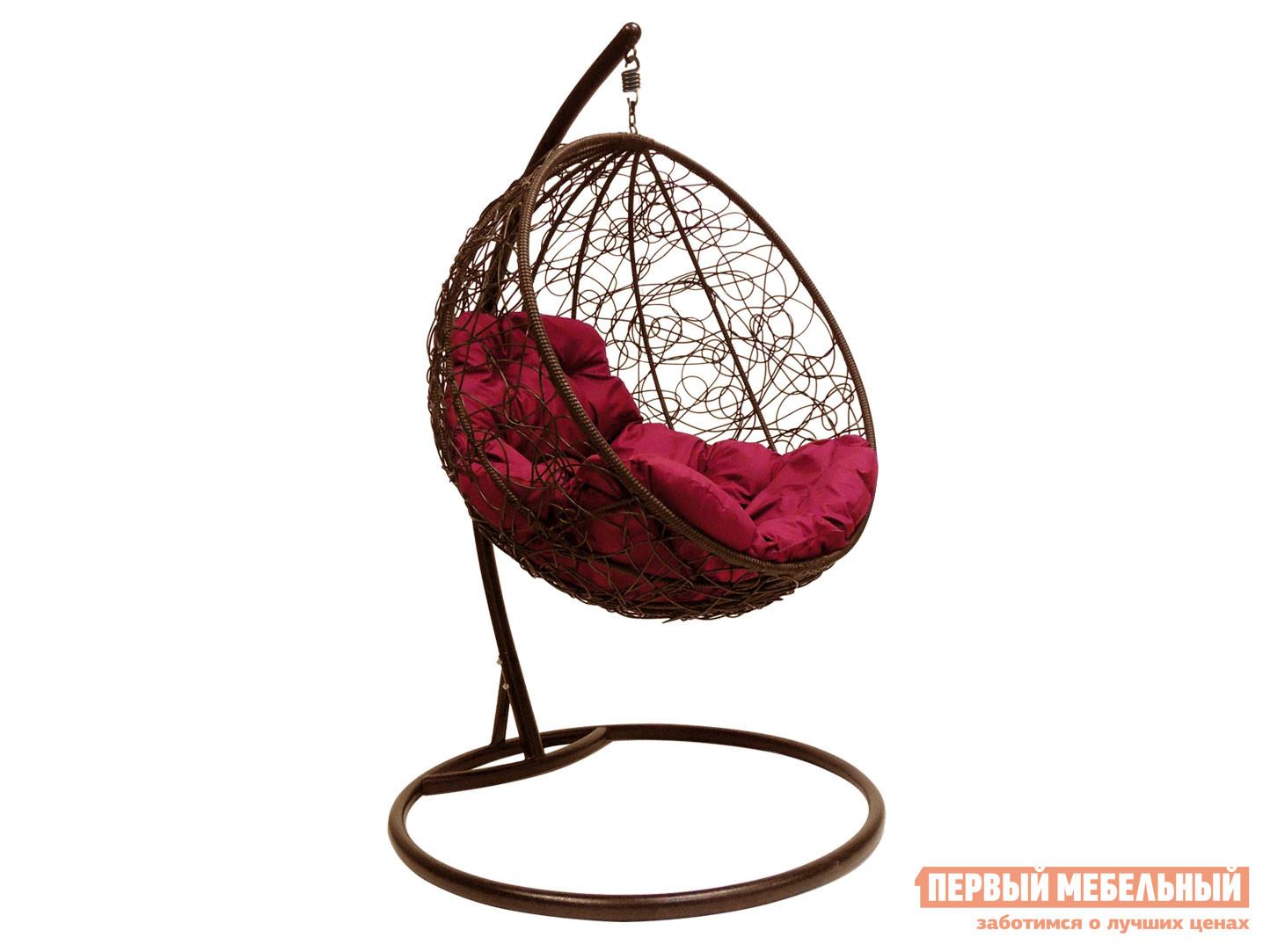 Подвесное кресло  Кресло подвесное Раунд, ротанг Коричневый / Бордо — Кресло подвесное Раунд, ротанг Коричневый / Бордо