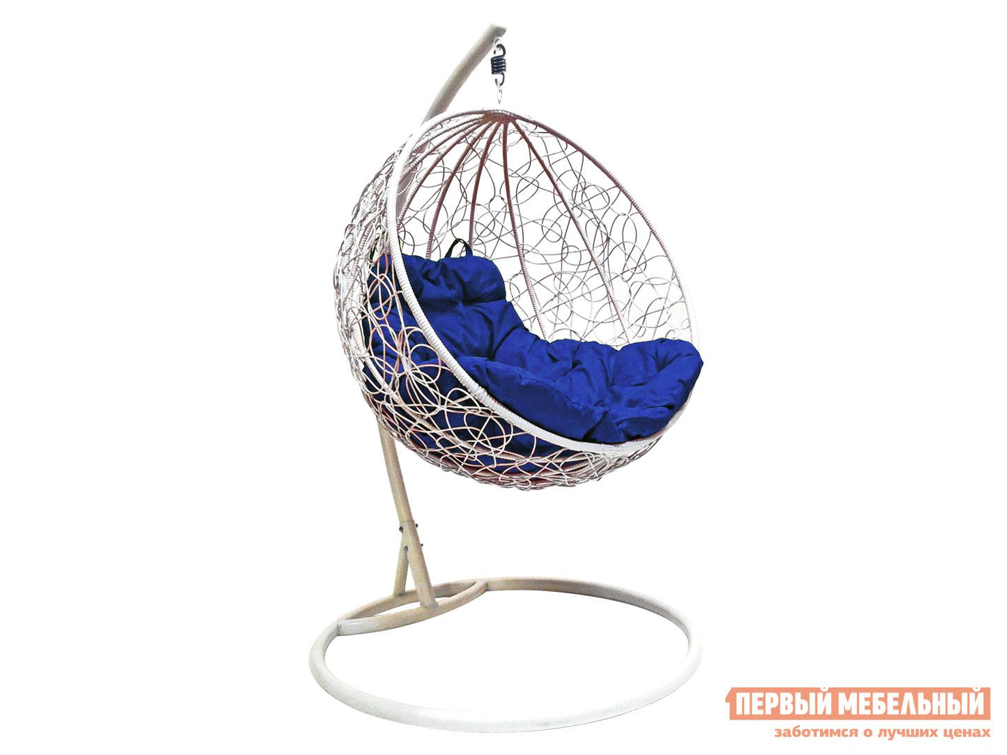 Подвесное кресло Кресло подвесное Раунд, ротанг Белый / Ультрамарин фото