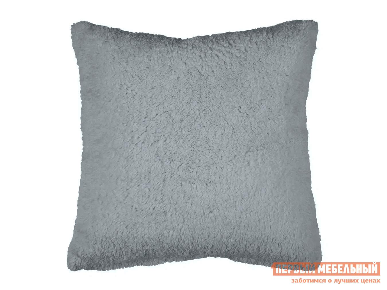 Декоративная подушка  Подушка 40х40 декоративная шерпа Серый — Подушка 40х40 декоративная шерпа Серый