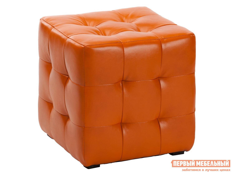 Пуфик Пуфик Куба Оранжевый, экокожа фото