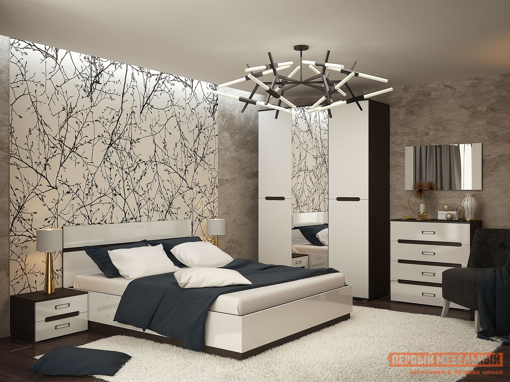 Спальный гарнитур Первый Мебельный Комплект мебели для спальни Вегас К спальный гарнитур нк мебель комплект мебели для спальни тиберия к2