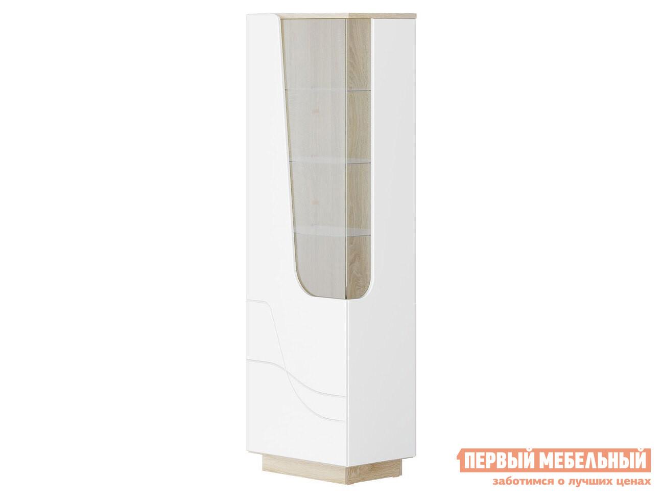 Шкаф-витрина  Гостиная  АУРА Пенал Д.600 Дуб сонома светлый / Белый глянец, Левый