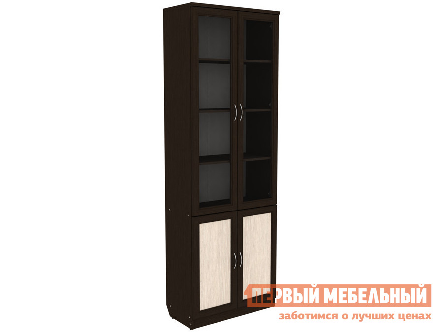 Шкаф-витрина  Шкаф-витрина Мерлен 206 Венге / Молочный дуб — Шкаф-витрина Мерлен 206 Венге / Молочный дуб