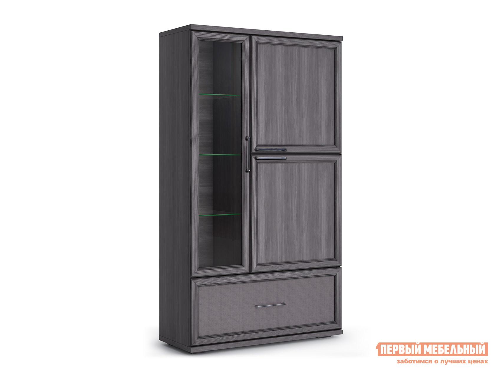 Шкаф-витрина  Шкаф 950 с 1 ящиком Палермо Без подсветки, Лиственница темная / Экокожа дила КУРАЖ 107104