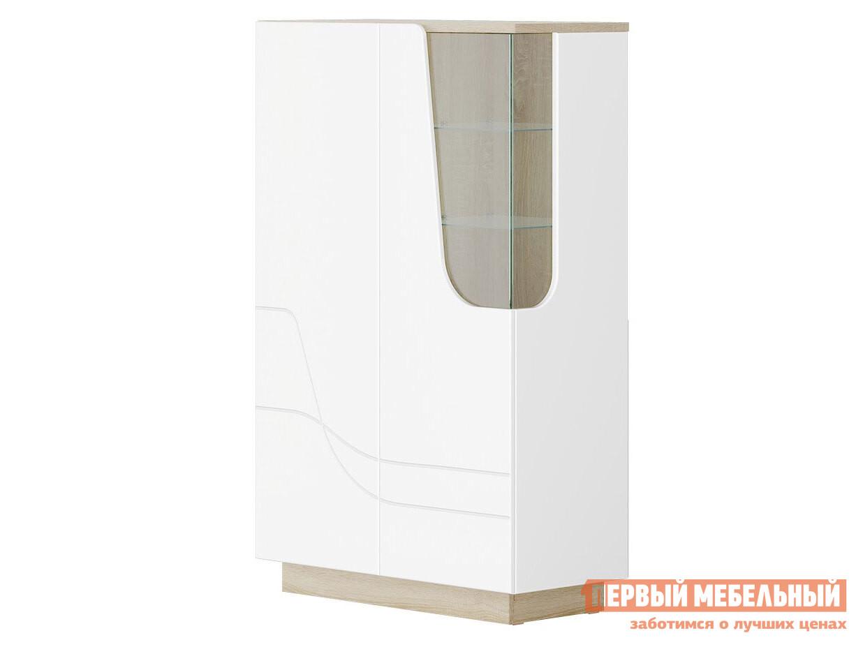 Шкаф-витрина  Гостиная  АУРА Пенал Д.900 Дуб сонома светлый / Белый глянец, Левый