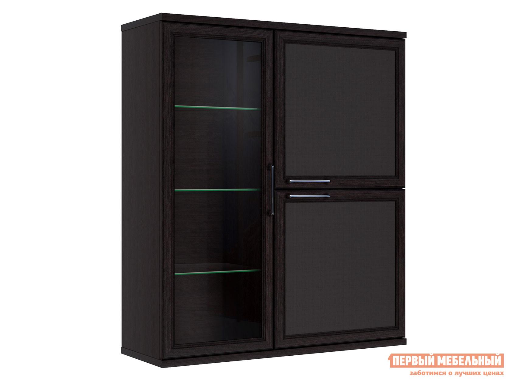 Навесной шкаф-витрина Первый Мебельный Полка 3 дверная (1 стеклодверь) Палермо шкаф 1 стеклодверь и ящик прато