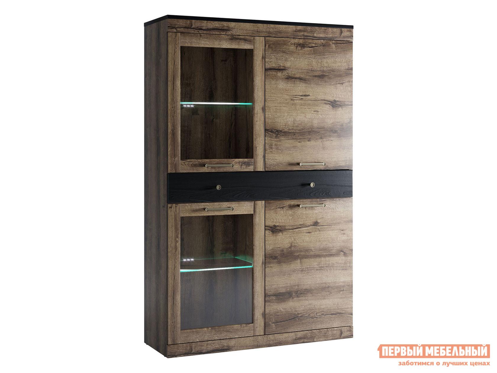 Шкаф-витрина  Шкаф Джагер 9 Дуб монастырский / Черный, С подсветкой Анрэкс 95021