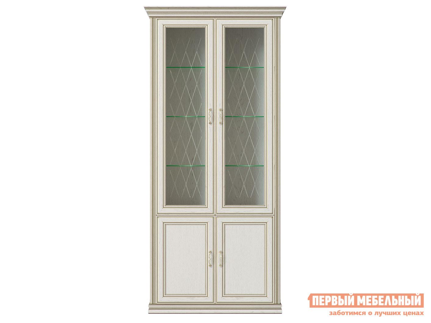 Шкаф-витрина  Шкаф 4-х дверный (2 стеклодвери) Венето Дуб молочный