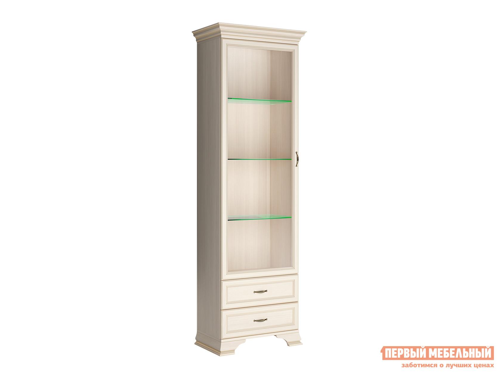 Шкаф-витрина  Шкаф витрина Сиена Бодега белый, патина золото, Со стеклополками КУРАЖ 83743