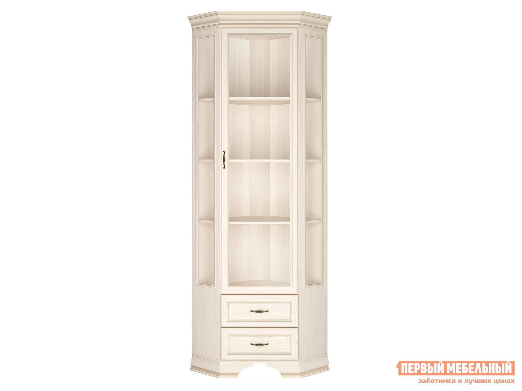 Шкаф-витрина  Шкаф витрина угловой Сиена Бодега белый, патина золото КУРАЖ 95770