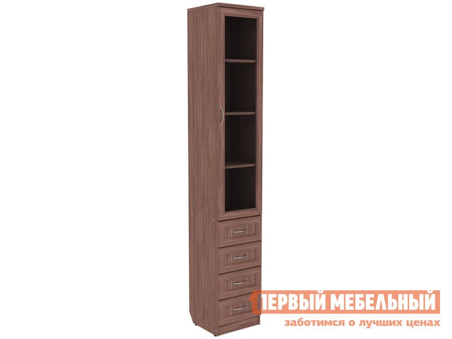 Шкаф-витрина  Шкаф-витрина Мерлен 205 узкий с ящиками Ясень Шимо