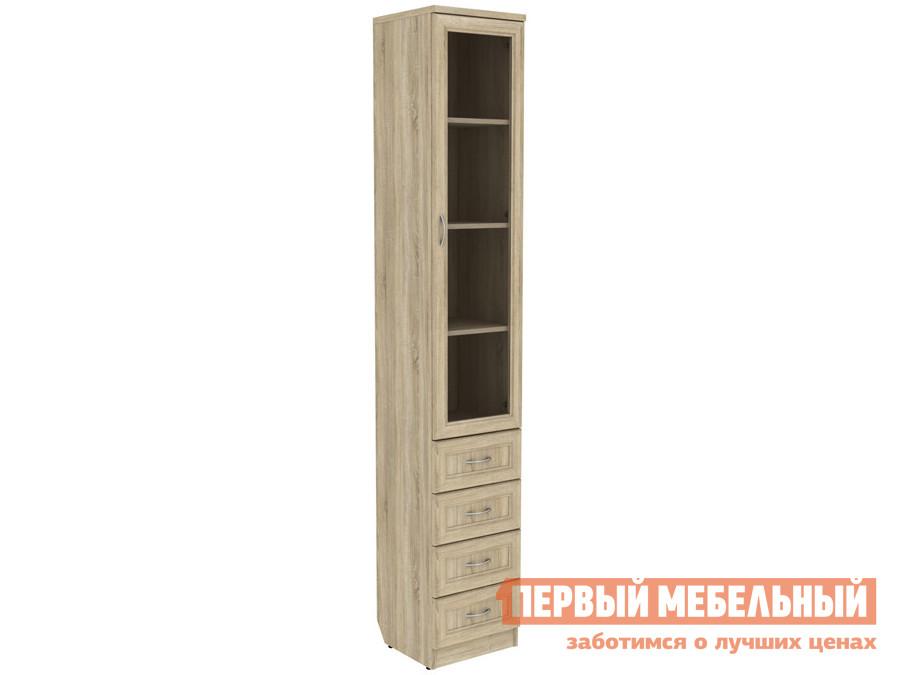 Шкаф-витрина  Мерлен 205 узкий с ящиками Дуб Сонома Уют сервис 70334