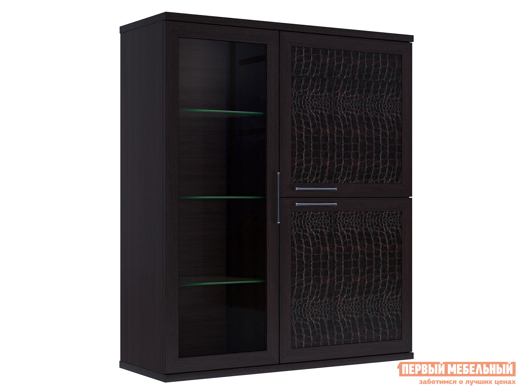 Шкаф-витрина Первый Мебельный Полка 3-х дверная (1 стеклодверь) Парма Люкс шкаф 1 стеклодверь и ящик прато