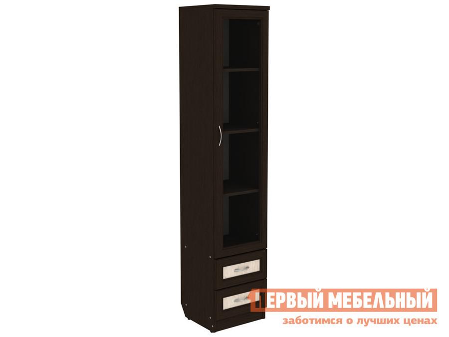 Шкаф-витрина  Шкаф-витрина Мерлен 220 узкий с ящиками Венге / Молочный дуб