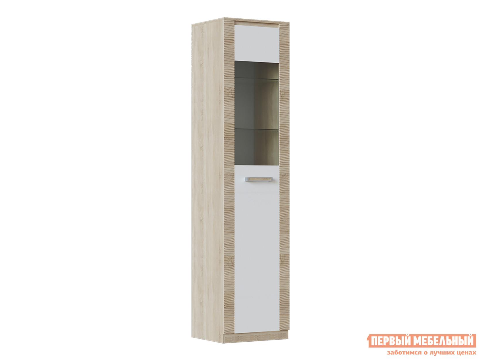 Шкаф-витрина  Элегия ШК-149 Дуб Сонома / Белый глянец