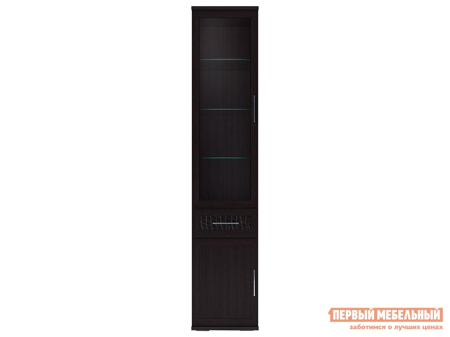 Узкий шкаф-витрина с ящиком Первый Мебельный Шкаф 450 со стеклом Парма Люкс