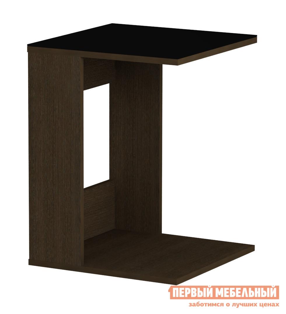 Журнальный столик Мебель Импэкс Leset LS 731 Венге / Черное стеклоЖурнальные столики<br>Габаритные размеры ВхШхГ 600x450x450 мм. Небольшой журнальный столик в лаконичном дизайне — стильный элемент для гостиной или спальни.  Модель прекрасно впишется в любой интерьер, добавив в обстановку простых и уютных ноток.  Широкая столешница позволит держать необходимые под рукой мелочи в быстром доступе. Столик изготавливается из ЛДСП, поверхность столешницы — матовое стекло.<br><br>Цвет: Черный<br>Цвет: Венге<br>Высота мм: 600<br>Ширина мм: 450<br>Глубина мм: 450<br>Кол-во упаковок: 1<br>Форма поставки: В разобранном виде<br>Срок гарантии: 1 год<br>Тип: Офисные<br>Тип: Кофейные<br>Назначение: Для офиса<br>Назначение: Для гостиной<br>Материал: Стекло<br>Материал: ЛДСП<br>Форма: Квадратные<br>Размер: Маленькие<br>Высота: Высокие<br>С одной ножкой: Да<br>Стиль: Модерн