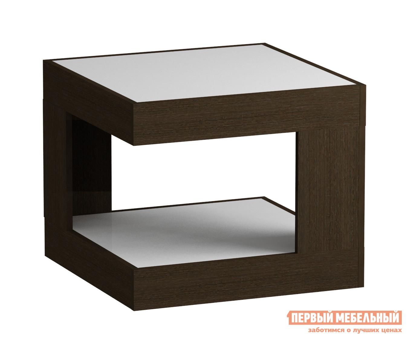 Журнальный столик Мебель Импэкс Leset LS 746 Венге / Белое стеклоЖурнальные столики<br>Габаритные размеры ВхШхГ 500x600x600 мм. Квадратный журнальный столик для гостиной или спальни.  Большая столешница позволяет сервировать чай к приходу гостей.  На нижней полке удобно держать нужные под рукой вещи.  Оригинальная геометрия в дизайне модели делает ее стильным элементом как классического, так и современного интерьера. Корпус столика выполняется из ЛДСП, столешница и нижняя полка — стекло.<br><br>Цвет: Белый<br>Цвет: Венге<br>Высота мм: 500<br>Ширина мм: 600<br>Глубина мм: 600<br>Кол-во упаковок: 1<br>Форма поставки: В разобранном виде<br>Срок гарантии: 1 год<br>Тип: Офисные<br>Назначение: Для офиса<br>Назначение: Для гостиной<br>Материал: Стекло<br>Материал: ЛДСП<br>Форма: Квадратные<br>Размер: Маленькие<br>Высота: Низкие<br>С полкой: Да<br>Стиль: Модерн