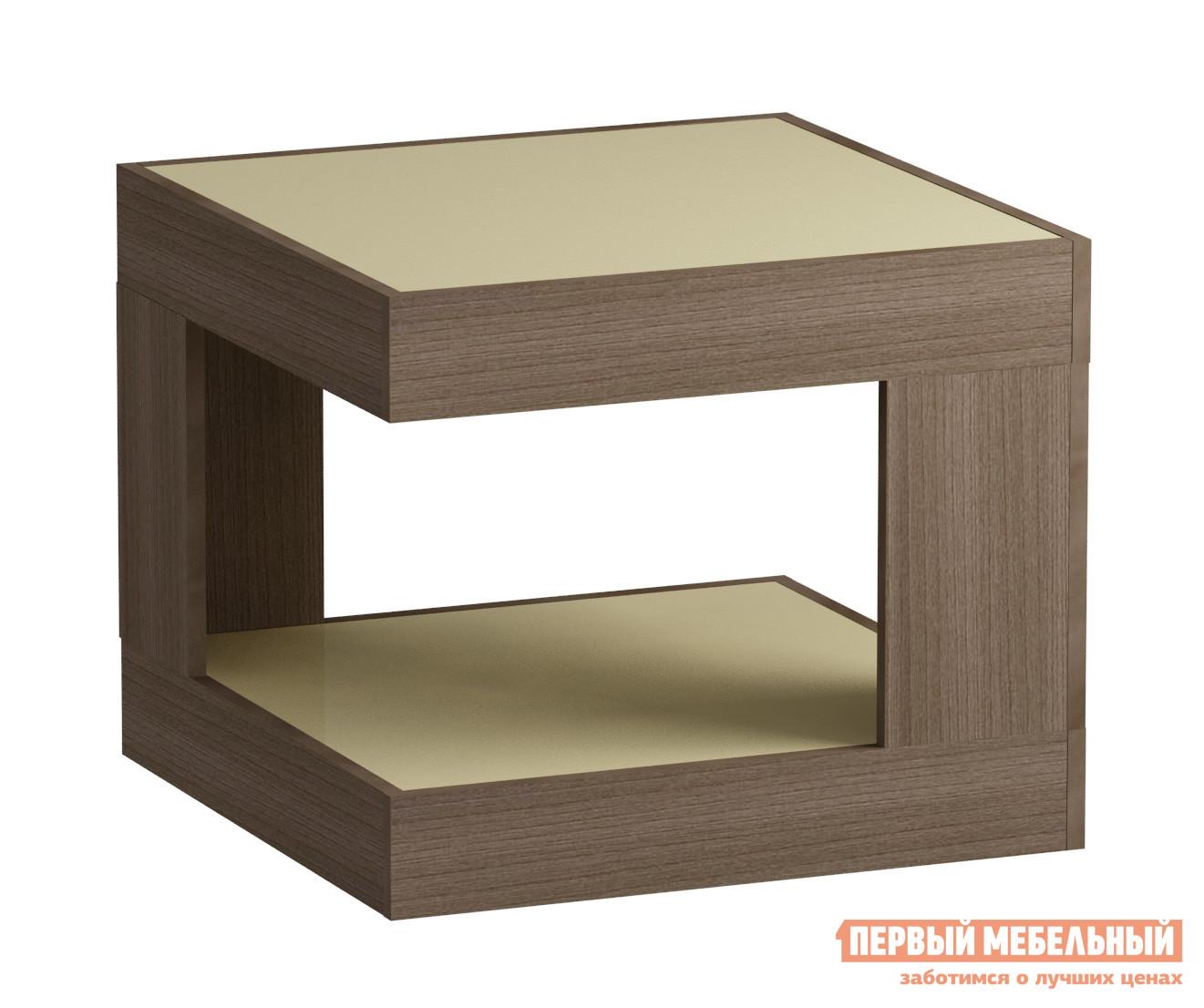 Журнальный столик Мебель Импэкс Leset LS 746 Ясень Шимо темный / Кремовое стеклоЖурнальные столики<br>Габаритные размеры ВхШхГ 500x600x600 мм. Квадратный журнальный столик для гостиной или спальни.  Большая столешница позволяет сервировать чай к приходу гостей.  На нижней полке удобно держать нужные под рукой вещи.  Оригинальная геометрия в дизайне модели делает ее стильным элементом как классического, так и современного интерьера. Корпус столика выполняется из ЛДСП, столешница и нижняя полка — стекло.<br><br>Цвет: Ясень Шимо темный / Кремовое стекло<br>Цвет: Бежевый<br>Цвет: Коричневое дерево<br>Высота мм: 500<br>Ширина мм: 600<br>Глубина мм: 600<br>Кол-во упаковок: 1<br>Форма поставки: В разобранном виде<br>Срок гарантии: 1 год<br>Тип: Для офиса<br>Назначение: Для офиса, Для гостиной<br>Материал: Стеклянные, из ЛДСП<br>Форма: Квадратные<br>Размер: Маленькие<br>Высота: Низкие<br>Особенности: С полкой<br>Стиль: Модерн