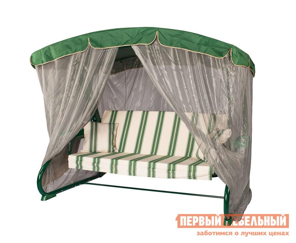 Качели Мебель Импэкс 3-х местные  Leset 902 Premium Зеленый Мебель Импэкс Габаритные размеры ВхШхГ 1900x2280x1470 мм. Дачные качели Люсин скрасят ваш отдых в совершенно любую погоду.  Благодаря наличию крыши, вы можете спрятаться от жаркого солнца, а также укрыться от летнего дождя. <br>Размер дивана составляет 180 см в длину, что позволит отдхонуть на качелях всей семьёй.  Для создания максимальной комфортабельности комплект дополнен мягкими подушками.  Каркас изделия выполнен из стальной трубы.  Наполнитель матраса — пенополиуретан. <br><br>Толщина матраса — 80 мм. <br><br>Диаметр каркасный труб — 51 мм. <br><br>Максимальная рекомендуемая нагрузка — 350 кг. <br>