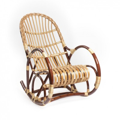 Плетеное кресло Мебель Импэкс Кресло-качалка Ракита Орех / Светлая лоза