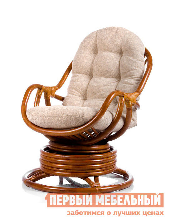 Кресло-качалка Мебель Импэкс Кресло-качалка Kara с подушкой КоньякКресла-качалки<br>Габаритные размеры ВхШхГ 900x670x900 мм. Кресло-качалка поможет в создании уютного, стилизованного уголка релаксации в собственном доме.  В кресле вас ждет непревзойденный комфорт, благодаря мягкой подушке, удобной спинке, и подлокотникам.  Пружинный механизм кресла-качалки позволяет плавно отклоняться в стороны и поворачиваться вокруг своей оси.  Мягкая и ненавязчивая динамика при раскачивании кресла расслабляет и успокаивает, делая отдых комфортным и приятным. Размеры сидения (В х Ш х Г): 450 х 500 х 500 мм, высота спинки — 700 мм.  Кресло выдерживает нагрузку 120 кг. Обратите внимание, мягкая подушка входит в комплектацию изделия. Изделие выполнено из натурального ротанга, материала уникального и эксклюзивного по своей природе.  Благодаря исполнению в максимально натуральном и естественном ключе, мебельное изделие отлично подойдет для воссоздания интерьера в стиле кантри.  В силу неприхотливости ротанга к метеоусловиям, кресло можно использовать на улице под открытым небом.<br><br>Цвет: Коньяк<br>Цвет: Коричневый<br>Высота мм: 900<br>Ширина мм: 670<br>Глубина мм: 900<br>Кол-во упаковок: 2<br>Форма поставки: В разобранном виде<br>Срок гарантии: 1 год<br>Тип: Уличные, Плетеная, Качалка<br>Материал: Деревянные, Из натурального дерева, Из натурального ротанга, из ротанга<br>Особенности: С подлокотниками, С мягким сиденьем, Вращающееся, С подушкой