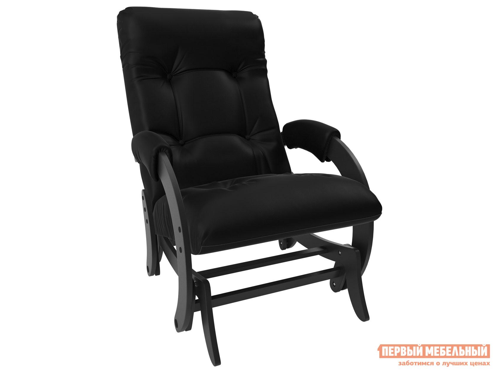 Кресло-качалка  Кресло-глайдер Бергамо КР Венге, Vegas Lite black, иск. кожа Мебель Импэкс 78644