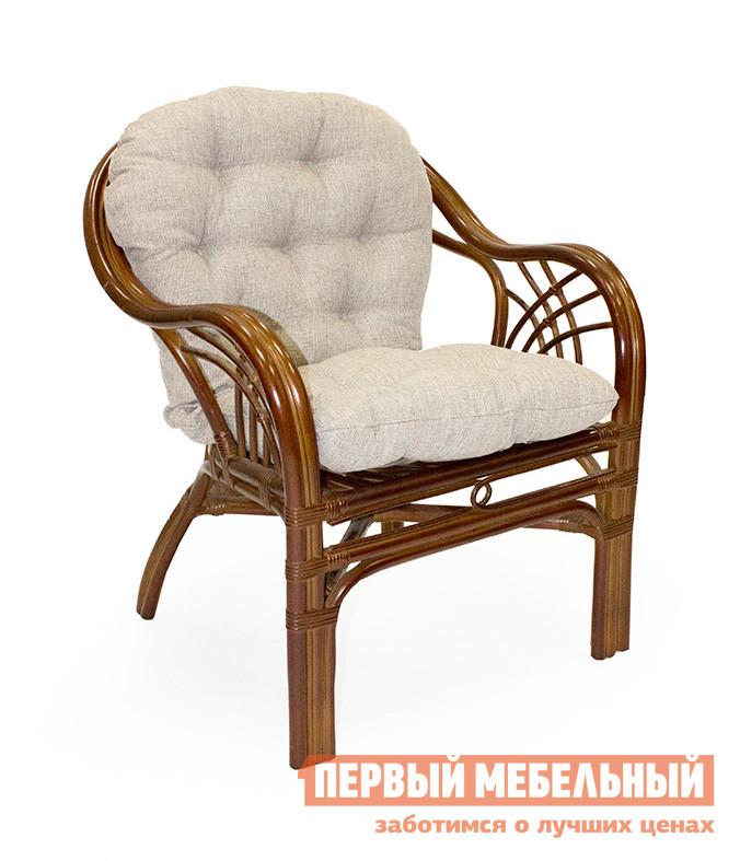Плетеное кресло Мебель Импэкс Кресло Roma с подушкой КоньякПлетеные стулья и кресла<br>Габаритные размеры ВхШхГ 850x700x850 мм. Стильное и удобное кресло из натурального ротанга — идеальный вариант для меблировки зоны отдыха на загородном участке, на веранде или на лоджии в квартире.  Благородные насыщенные оттенки  кресла наполнят уютом и теплом окружающую обстановку.  В кресле вас ждет непревзойденный комфорт благодаря мягкой подушке, удобной спинке и подлокотникам. Высота спинки — 450 мм, ширина сидения — 500 мм, глубина сидения — 500 мм.  Высота сидения — 550 мм. Обратите внимание! Мягкая подушка серого цвета входит в комплект изделия. Изделие выполнено из натурального ротанга, материала уникального и эксклюзивного по своей природе.  Благодаря исполнению в максимально натуральном и естественном ключе, мебельное изделие отлично подойдет для воссоздания интерьера в стиле кантри.  В силу неприхотливости ротанга к метеоусловиям, кресло можно использовать на улице под открытым небом.<br><br>Цвет: Коньяк<br>Цвет: Коричневый<br>Высота мм: 850<br>Ширина мм: 700<br>Глубина мм: 850<br>Кол-во упаковок: 2<br>Форма поставки: В собранном виде<br>Срок гарантии: 1 год<br>Тип: Плетеная<br>Материал: Деревянные, Из натурального дерева, Из натурального ротанга, из ротанга<br>Особенности: С подлокотниками, С подушкой