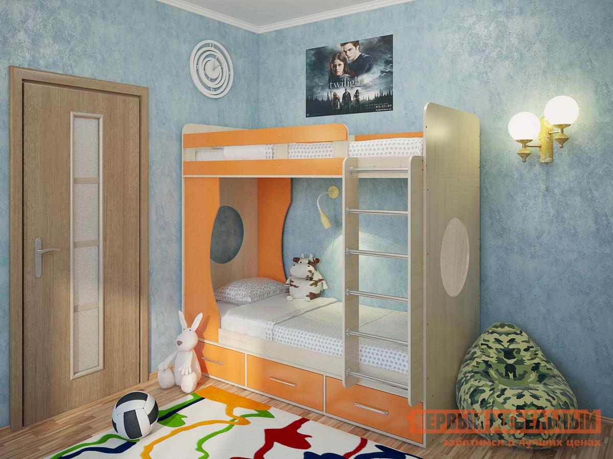 Кровать Милана Милана-1 Дуб Дуб / Манго, Без матрасовДвухэтажные кровати<br>Габаритные размеры ВхШхГ 1760x1940x870 мм. Детская двухъярусная кровать — это отличное решение для организации пространства в небольшой комнате с двумя детьми.  Все края имеют скругления, а верхний ярус оборудован бортиком.  В боковинах располагаются круглые окошки, которые будут пропускать свет на нижний ярус и могут использоваться малышами во время игр.  Удобная широкая лестница позволит легко взбираться на второй этаж и будет способствовать физическому развитию детей.  Кровать дополнена тремя выдвижными ящиками для постельных принадлежностей, игрушек и прочих детских вещей. Размеры спальных мест — 800 х 1900 мм. Основание кроватей — настил из ЛДСП. Модуль универсальный: его можно собрать как на правую, так и на левую сторону. Обратите внимание! Необходимо выбрать удобный для вас вариант покупки кровати: с матрасами или без них.  Ознакомиться с моделью матраса, который входит в комплект кровати, вы можете в разделе «Аксессуары». Изделие изготавливается из ЛДСП толщиной 16 мм.  Края обработаны кромкой ПВХ 0,4 и 2 мм.  Перекладины у лестницы выполнены из хромированного металла.<br><br>Цвет: Дуб / Манго<br>Цвет: Оранжевый<br>Цвет: Светлое дерево<br>Высота мм: 1760<br>Ширина мм: 1940<br>Глубина мм: 870<br>Кол-во упаковок: 5<br>Форма поставки: В разобранном виде<br>Срок гарантии: 24 месяца<br>Назначение: Детские<br>Материал: Деревянные, из ЛДСП<br>Размер: Спальное место 80х190 см<br>Особенности: С ящиками, С матрасом<br>Пол: Для девочек, Для мальчиков