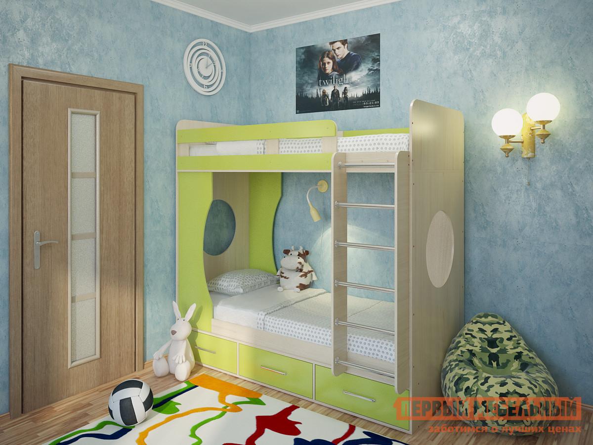Кровать Милана Милана-1 Дуб Дуб / Зеленый, Без матрасов