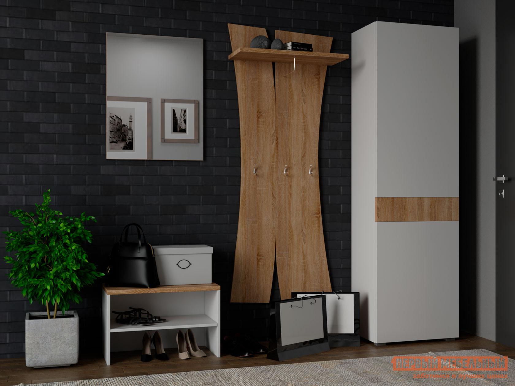 Прихожая  Комплект мебели для прихожей Куба 3 Дуб Сонома / Белый глянец Милана 125356
