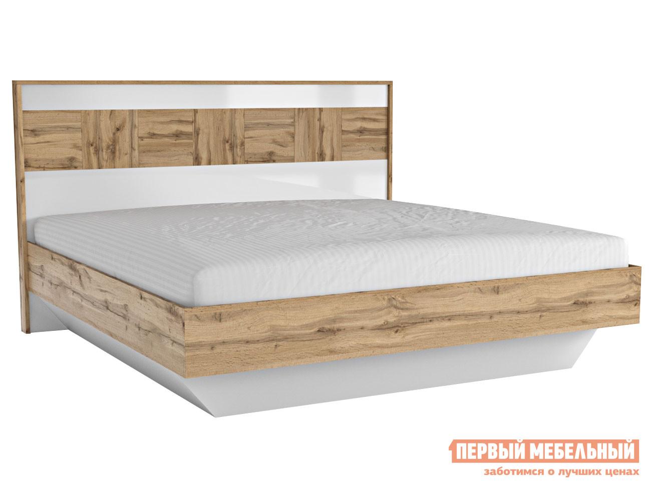 Двуспальная кровать  Двуспальная кровать Аризона 1800 Х 2000 мм, Дуб Ватан / Белый лак, С основанием