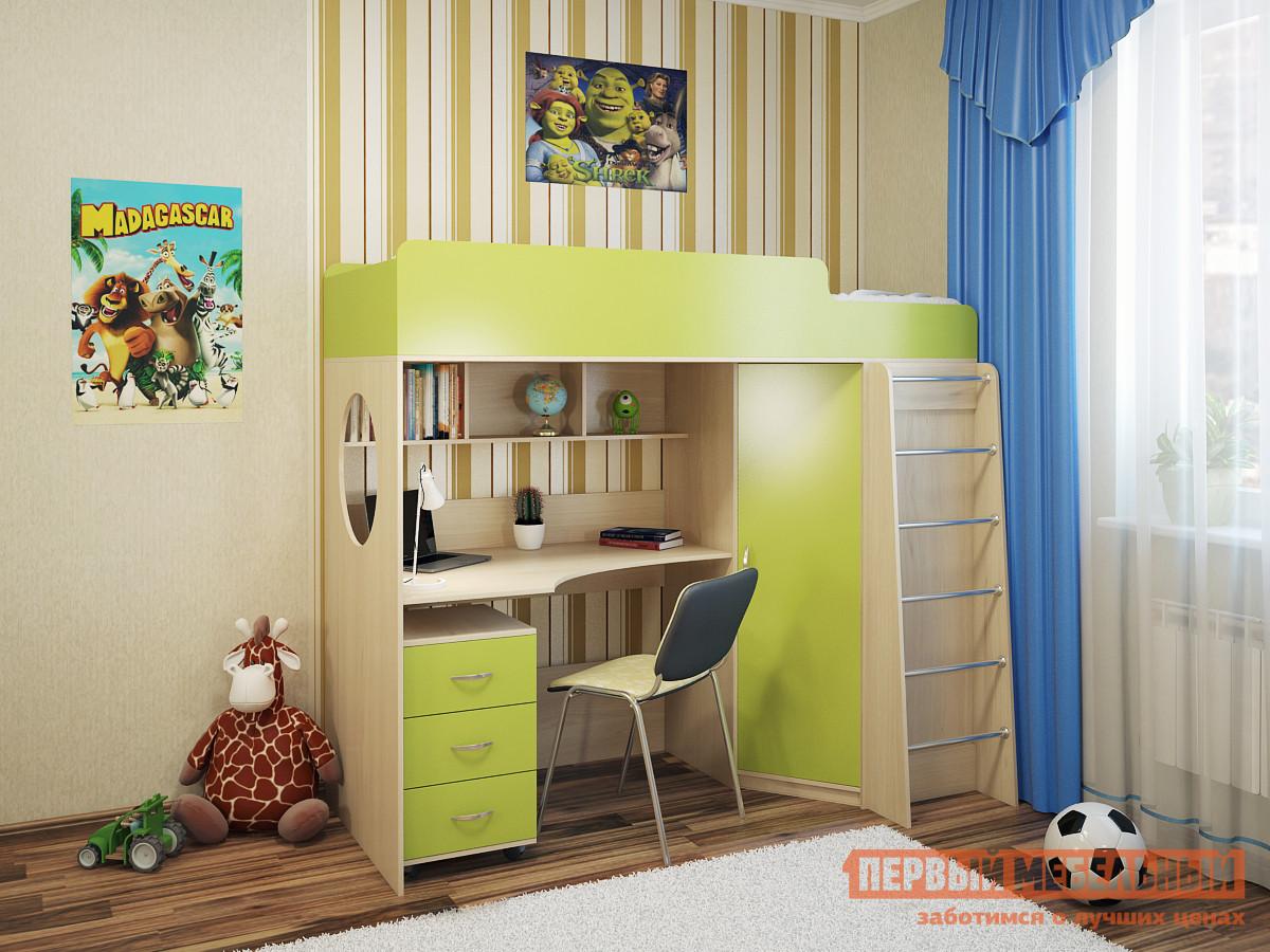 Детская кровать-чердак с рабочей зоной и шкафом Мелания Милана-3 Дуб детская двухъярусная кровать с рабочей зоной боровичи кровать детская двухъярусная трансформер с ящиком и столиком