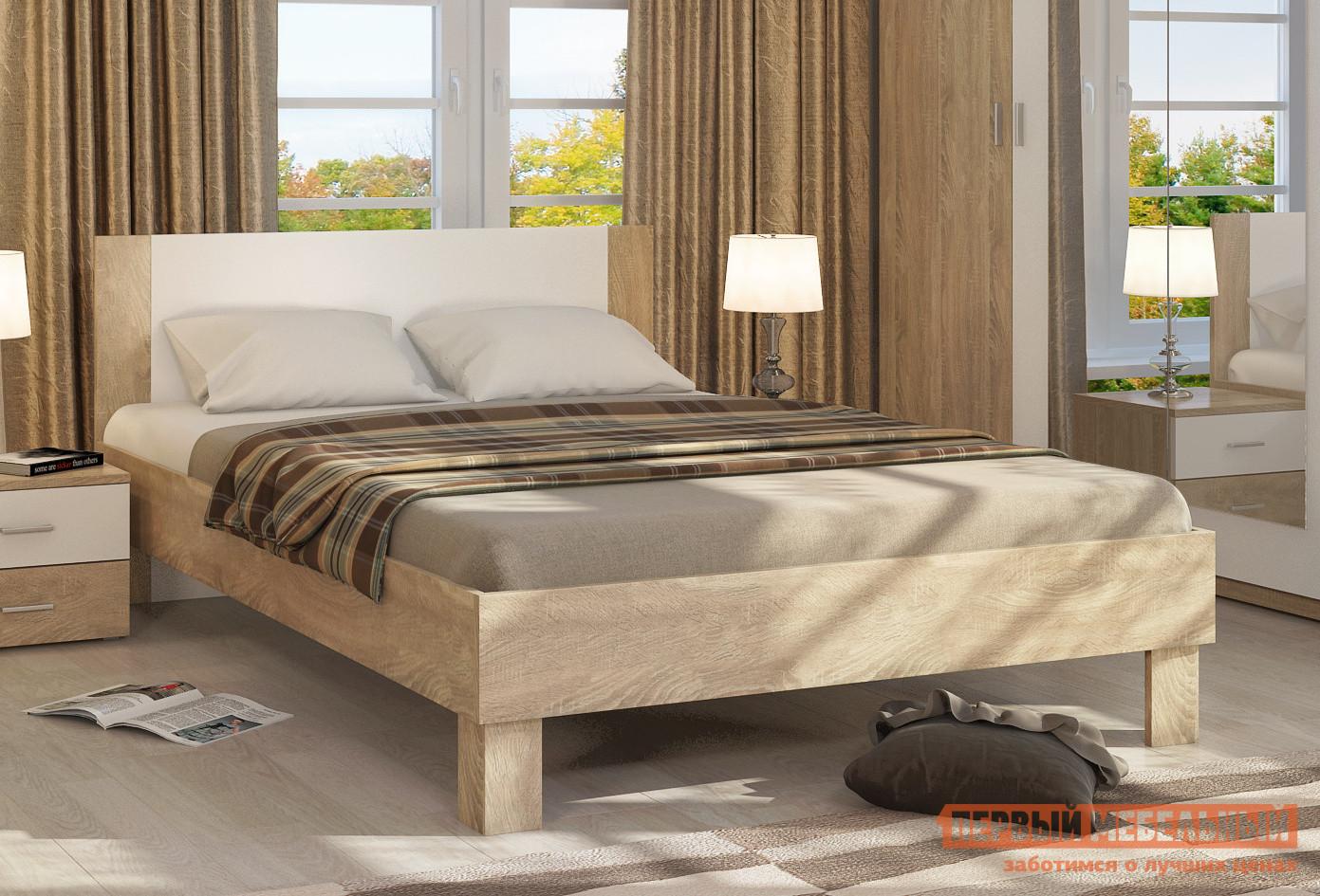 Фото Полутороспальная кровать Милана 1409.М2 Без основания, Сонома / Белый глянец. Купить с доставкой