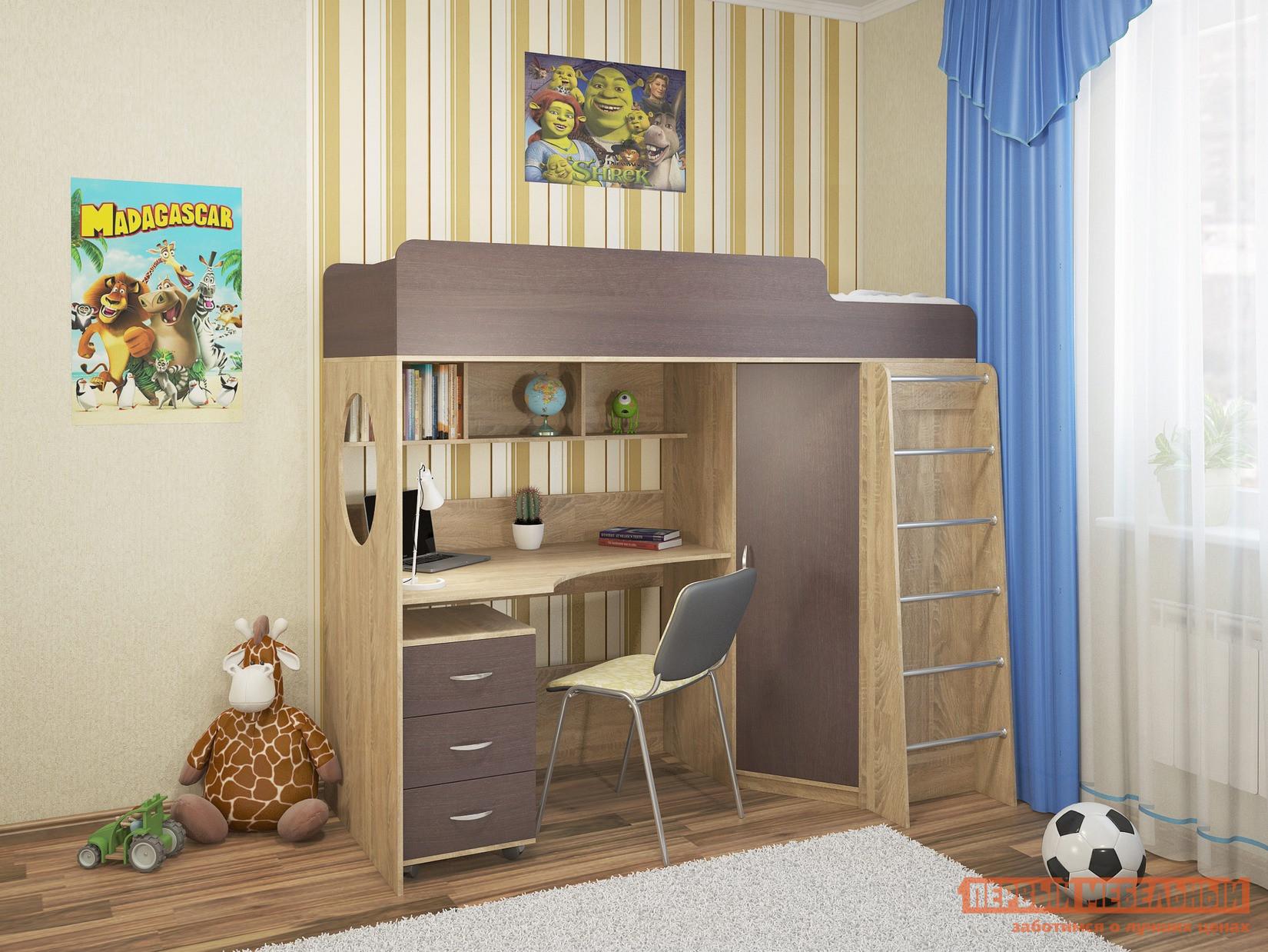 Детская кровать-чердак с рабочей зоной и шкафом Милана Милана-3 Сонома